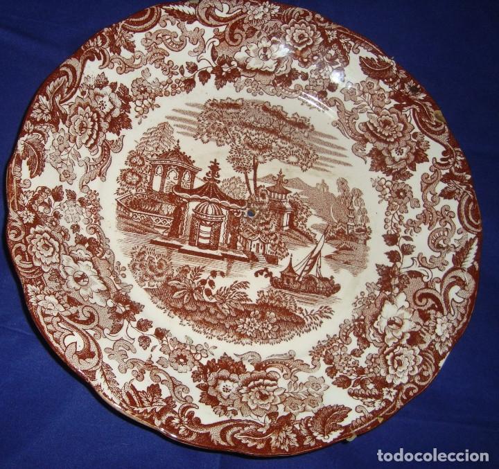 PLATO PARA FRUTERO DE ALTURAS LOZA PICKMAN SERIE 202 MARRON (Antigüedades - Porcelanas y Cerámicas - La Cartuja Pickman)