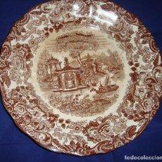 Antigüedades: PLATO PARA FRUTERO DE ALTURAS LOZA PICKMAN SERIE 202 MARRON. Lote 173933697