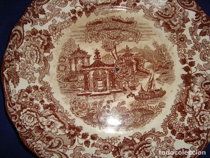 Antigüedades: PLATO PARA FRUTERO DE ALTURAS LOZA PICKMAN SERIE 202 MARRON - Foto 2 - 173933697