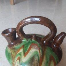 Antiquités: SINGULAR CANTARO BOTIJO CERÁMICA POPULAR VIDRIADA. Lote 173949533