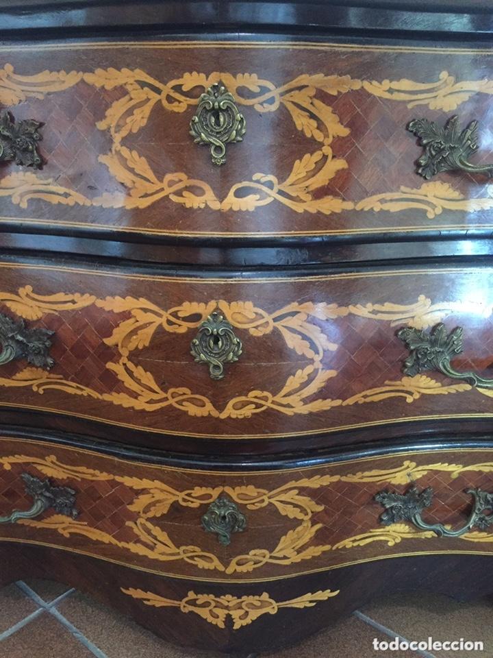 Antigüedades: ANTIGUA CÓMODA FRANCESA ESTILO LUIS XV BOMBÉ EN MARQUETERÍA PALO SANTO - Foto 10 - 173962804