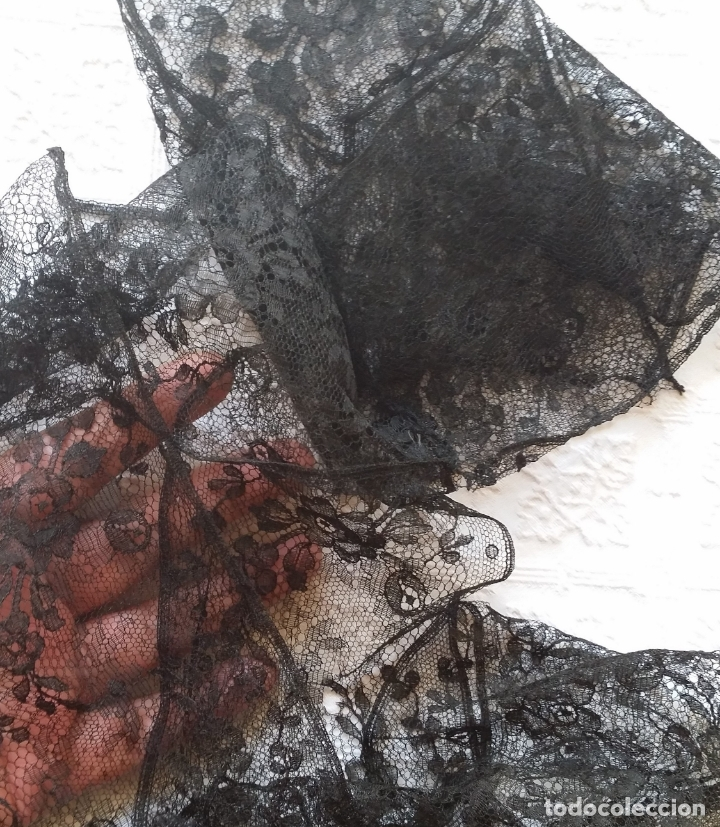 Antigüedades: Antiguo encaje negro 180 cm - Foto 2 - 173969773