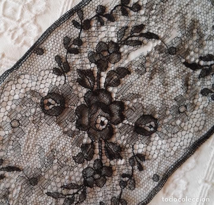Antigüedades: Antiguo encaje negro 180 cm - Foto 9 - 173969773