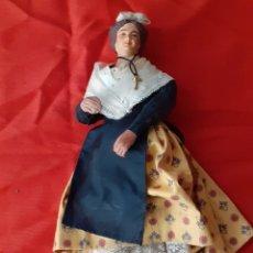 Antigüedades: MUÑECA ANTIGUA TERRACOTA Y TELA. Lote 173987399