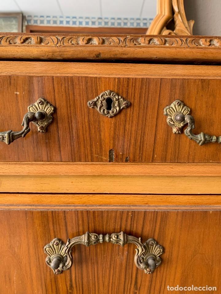 Antigüedades: COMODA DE HABITACION O TOCADOR CON ESPEJO, 110 CM. DE LARGO - Foto 6 - 174017202
