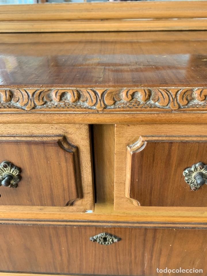 Antigüedades: COMODA DE HABITACION O TOCADOR CON ESPEJO, 110 CM. DE LARGO - Foto 7 - 174017202