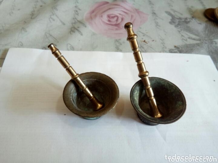 LOTE DE 2 MORTEROS PEQUEÑOS (Antigüedades - Técnicas - Rústicas - Utensilios del Hogar)