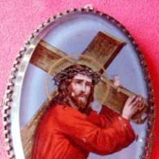 Antigüedades: RELICARIO DE PLATA SIGLO XIX, CON IMAGEN DE NAZARENO BAJO CRISTAL DE ROCA. DIMENSIONES.- 9.1X6.2 CMS. Lote 174023653