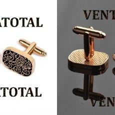 Antigüedades: GEMELOS VINTAGE DE ORO AMARILLO DE 18 KILATES LAMINADO PESAN LOS DOS 11,15 GRAMOS - Nº3. Lote 174041699