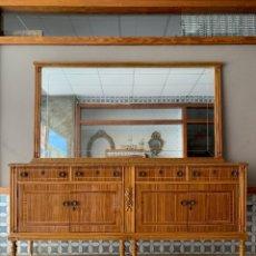 Antigüedades: COMODA GRANDE DE COMEDOR CON ESPEJO A JUEGO, 189,50 CM. DE LARGO. Lote 174054078