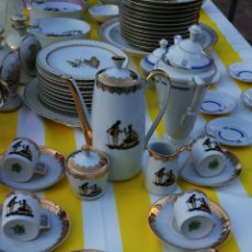 Antigüedades: ESPECTACULAR JUEGO DE CAFÉ PORCELANA FRANCESA LIMOGES ALTA CALIDAD SELLO EN REVERSO IMPECABLE. Lote 174057407