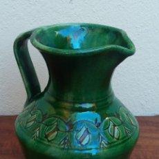 Antigüedades: PRECIOSA JARRA DE CERÁMICA ESMALTADA Y DECORADA, FIRMADO GÓNGORA UBEDA. Lote 174058075