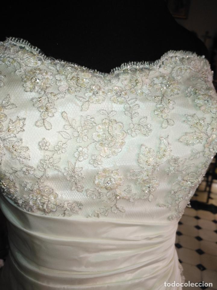 Antigüedades: traje novia SWEETHEART BORDADO y tul bordado hilo plata confecciones ropa virgen semana santa - Foto 4 - 174062165