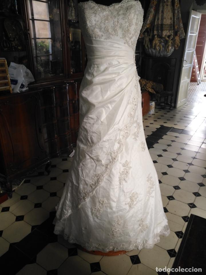 Antigüedades: traje novia SWEETHEART BORDADO y tul bordado hilo plata confecciones ropa virgen semana santa - Foto 6 - 174062165