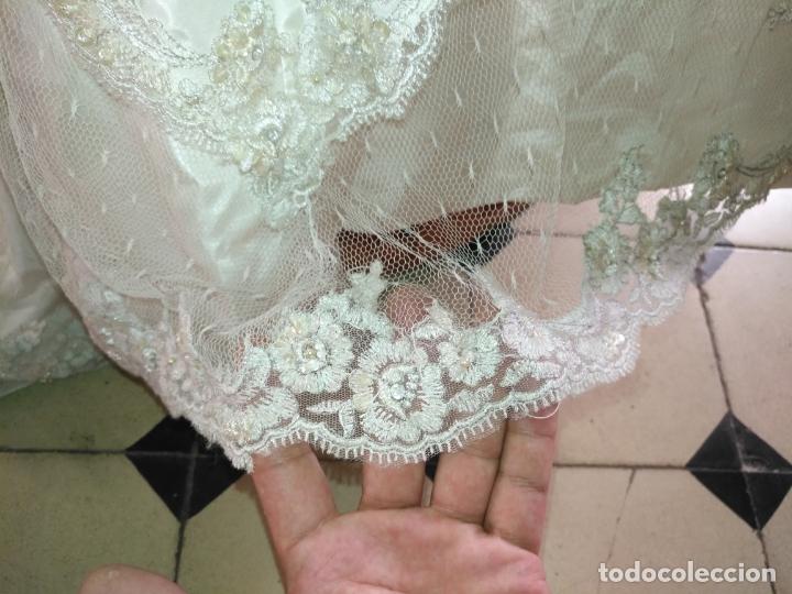 Antigüedades: traje novia SWEETHEART BORDADO y tul bordado hilo plata confecciones ropa virgen semana santa - Foto 7 - 174062165