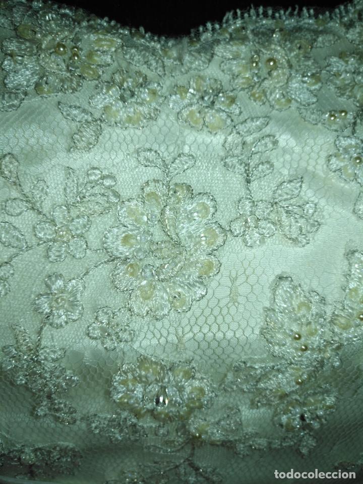 Antigüedades: traje novia SWEETHEART BORDADO y tul bordado hilo plata confecciones ropa virgen semana santa - Foto 9 - 174062165