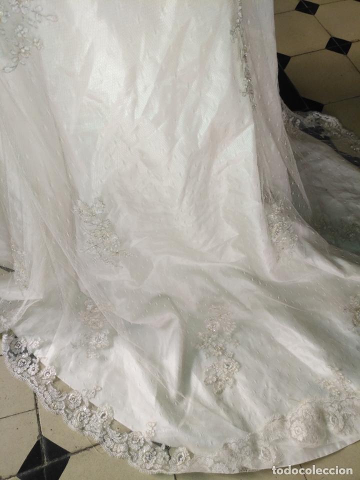 Antigüedades: traje novia SWEETHEART BORDADO y tul bordado hilo plata confecciones ropa virgen semana santa - Foto 10 - 174062165