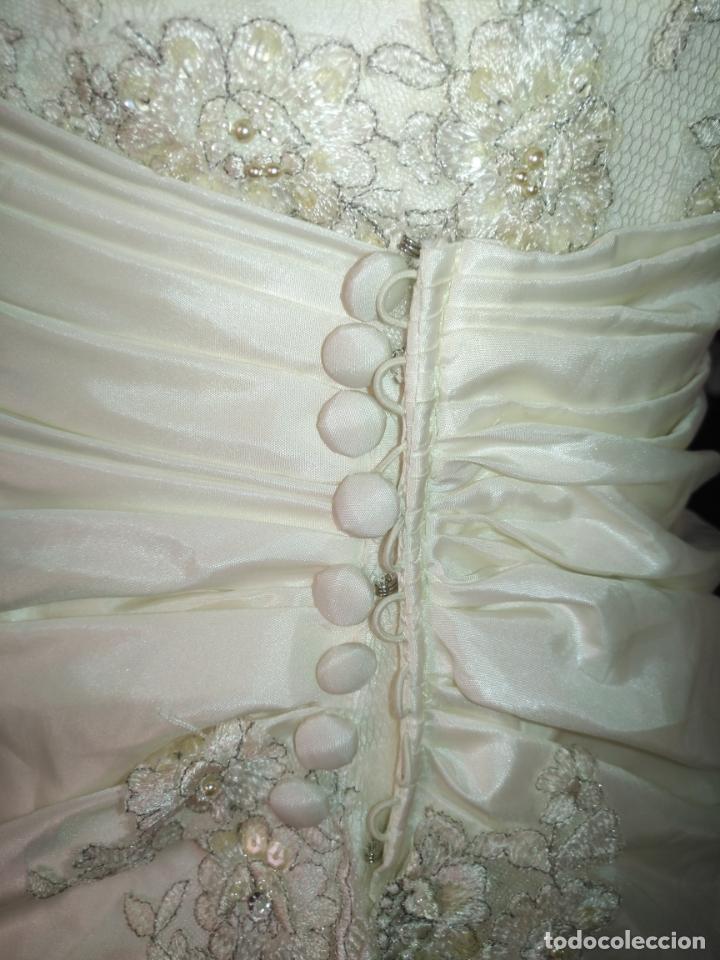 Antigüedades: traje novia SWEETHEART BORDADO y tul bordado hilo plata confecciones ropa virgen semana santa - Foto 12 - 174062165