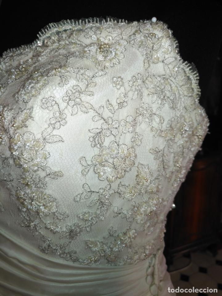 Antigüedades: traje novia SWEETHEART BORDADO y tul bordado hilo plata confecciones ropa virgen semana santa - Foto 15 - 174062165