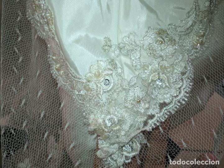 Antigüedades: traje novia SWEETHEART BORDADO y tul bordado hilo plata confecciones ropa virgen semana santa - Foto 18 - 174062165