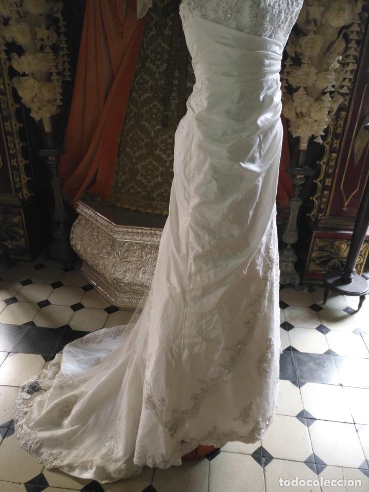 Antigüedades: traje novia SWEETHEART BORDADO y tul bordado hilo plata confecciones ropa virgen semana santa - Foto 22 - 174062165