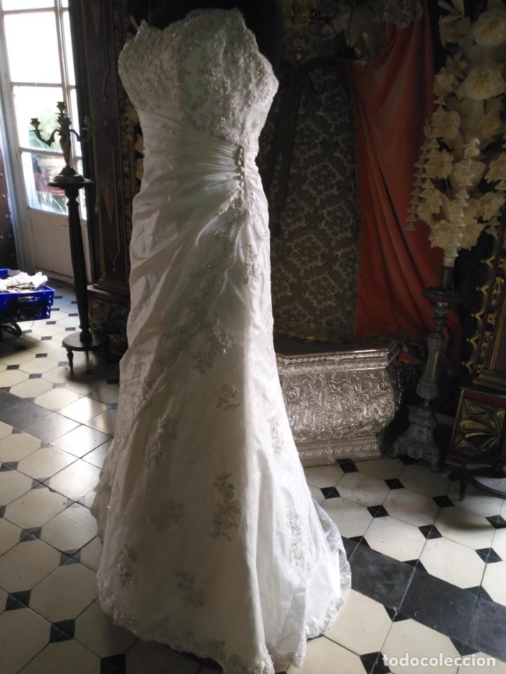 Antigüedades: traje novia SWEETHEART BORDADO y tul bordado hilo plata confecciones ropa virgen semana santa - Foto 27 - 174062165