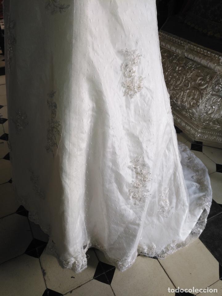 Antigüedades: traje novia SWEETHEART BORDADO y tul bordado hilo plata confecciones ropa virgen semana santa - Foto 28 - 174062165
