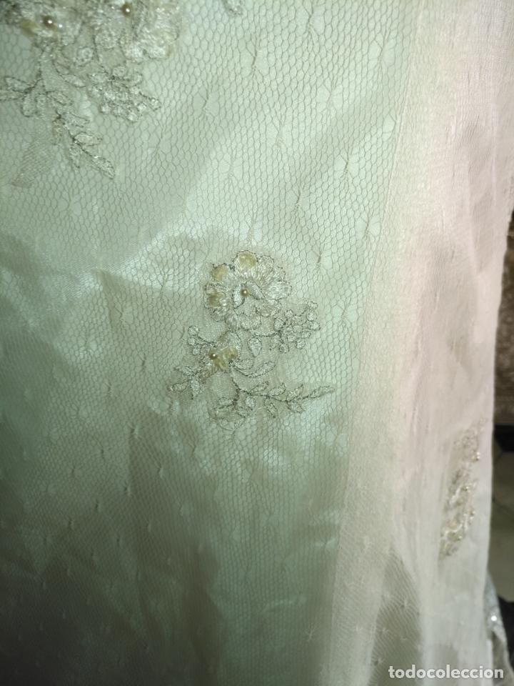 Antigüedades: traje novia SWEETHEART BORDADO y tul bordado hilo plata confecciones ropa virgen semana santa - Foto 29 - 174062165