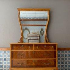 Antigüedades: COMODA DE HABITACION O TOCADOR, CON ESPEJO A JUEGO, 103,50 CM. DE LARGA. Lote 174071258