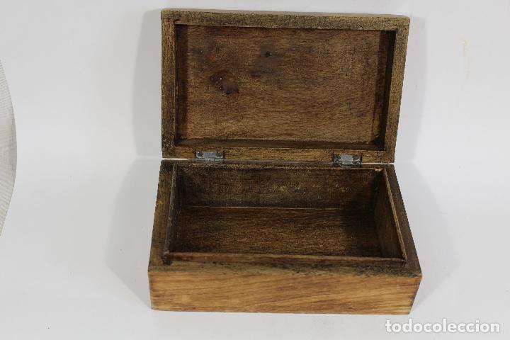 Antigüedades: caja joyero madera con incrustaciones de hueso - Foto 3 - 174079204