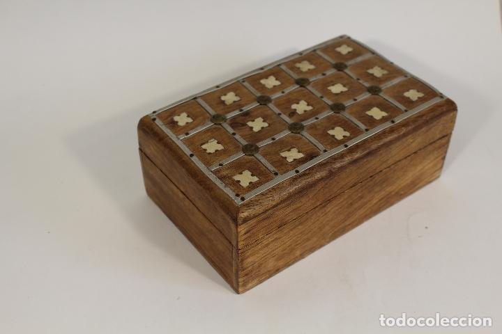 Antigüedades: caja joyero madera con incrustaciones de hueso - Foto 4 - 174079204