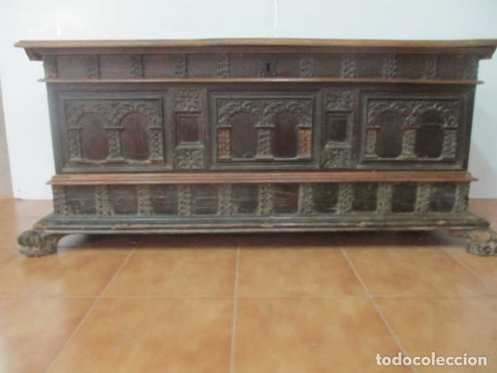 ANTIGUA ARCA, ARCÓN CATALÁN - BAÚL BARROCO - MADERA DE NOGAL - S. XVIII (Antigüedades - Muebles Antiguos - Baúles Antiguos)