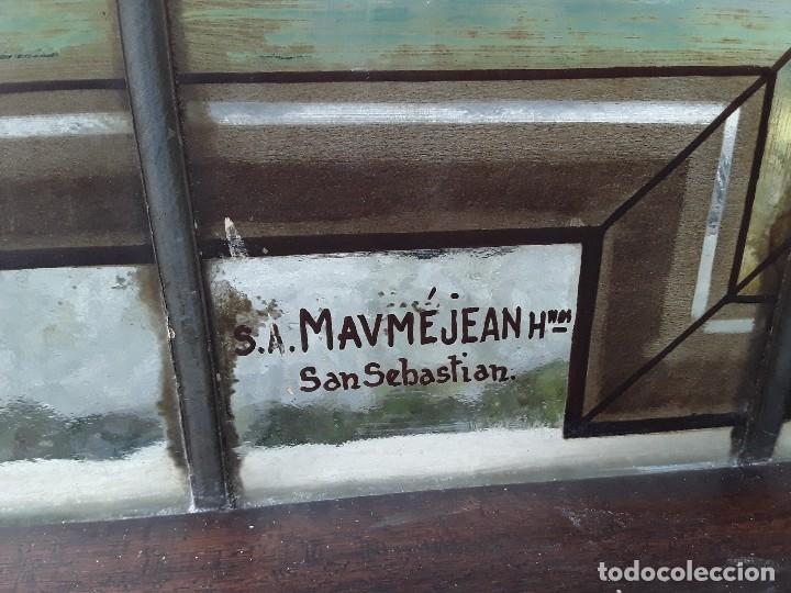 Antigüedades: Vidriera emplomada, medio punto, Sa Maumejean Hnos. - Foto 3 - 174101378