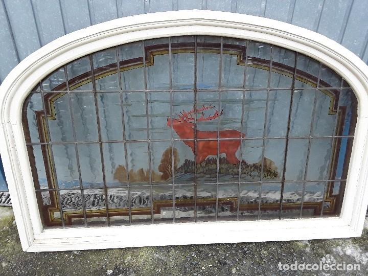 Antigüedades: Vidriera emplomada, medio punto, Sa Maumejean Hnos. - Foto 4 - 174101378