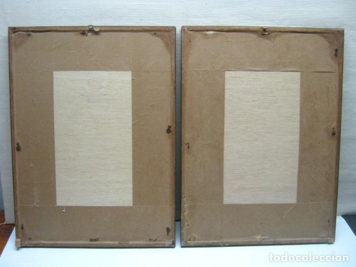 Antigüedades: bella pareja de marcos montados con pasportu y vidrio - collage hojas - Foto 2 - 174103013