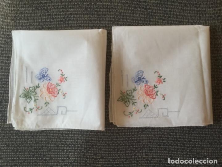 ANTIGUOS PAÑUELOS DE HILO FINO CON BORDADO (Antigüedades - Moda - Pañuelos Antiguos)