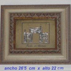 Antigüedades: ORIGINAL CUADRO EN PLATA DE LEY DE LA PUERTA DEL CARMEN DE ZARAGOZA. Lote 174156304