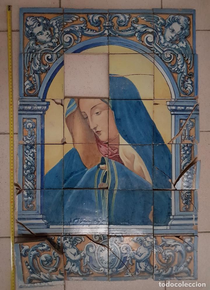 """RETABLO CERAMICO """"MATER DOLOROSA"""" DE MENSAQUE TRIANA SEVILLA 1918 -1920 MAESTRO M. MORILLA (Antigüedades - Porcelanas y Cerámicas - Triana)"""