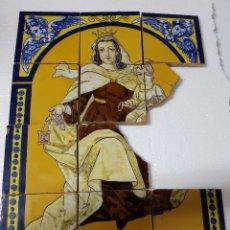 """Antigüedades: RETABLO CERAMICO """"VIRGEN DEL CARMEN"""" DE MENSAQUE TRIANA SEVILLA PRINCIPIOS 1920 MAESTRO J. MACÍAS. Lote 174156890"""
