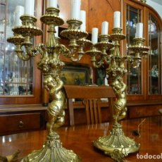 Antigüedades: PAREJA DE CANDELABLOS BRONCE, SEIS LUCES,CALIDAD FUNDICION Y ACABADO, 8,8 KGM.PESO 43 CMS.ALTO. Lote 174157220