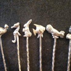 Antigüedades: SET DE 6 PALILLOS DE PLATA CONTRASTE 916. Lote 174171914