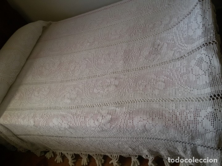 PRECIOSA COLCHA BLANCA -CAMA DE 1,35 CM (Antigüedades - Hogar y Decoración - Colchas Antiguas)