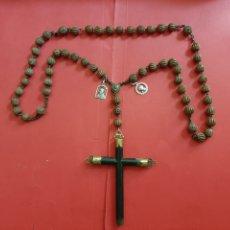 Antigüedades: INTERESANTE ROSARIO JESUITICO. MADERA TALLADA, CRUZ EBONIZADA CON REMATES DE BRONCE.. Lote 174228045