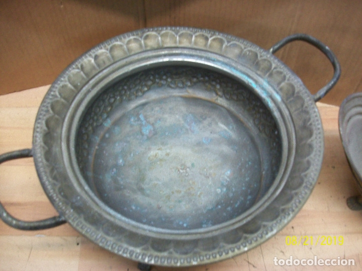 Antigüedades: LOTE DE 3 CENTROS DE MESA DE BRONCE, COBRE Y PLATEADO - Foto 5 - 174231605