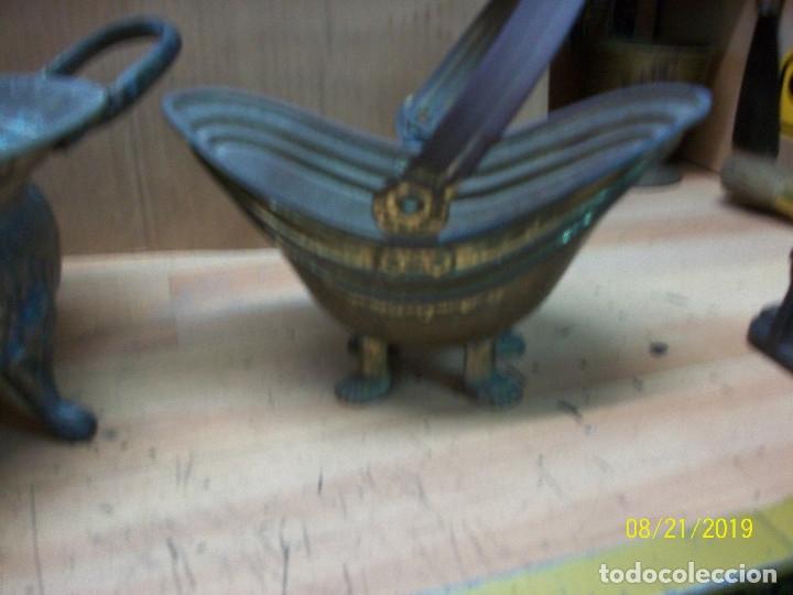 Antigüedades: LOTE DE 3 CENTROS DE MESA DE BRONCE, COBRE Y PLATEADO - Foto 10 - 174231605