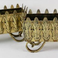 Antigüedades: PAREJA DE JARDINERAS DE METAL DORADO, MEDIADOS S.XX.. Lote 174234598