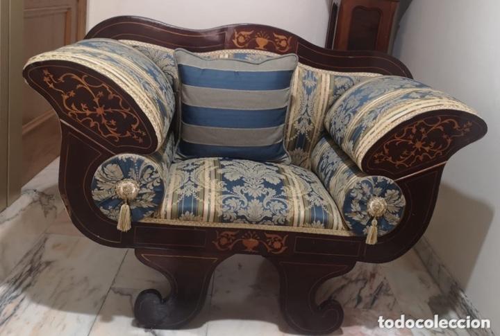 Antigüedades: Sillón tapizado con marquetería - Foto 11 - 171538632