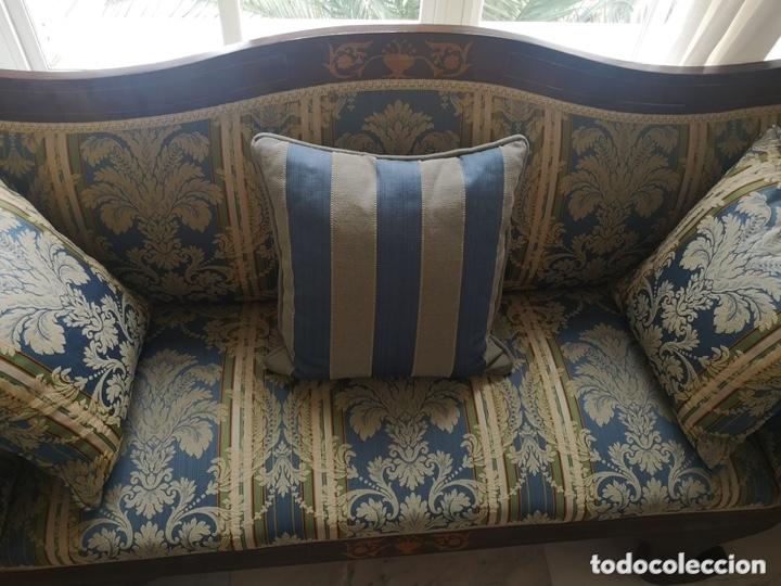Antigüedades: Sofá tapizado con marquetería - Foto 13 - 171538733