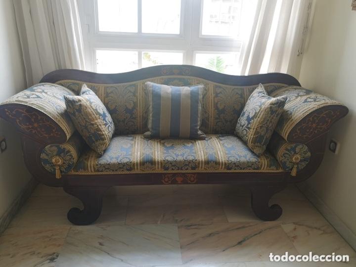 Antigüedades: Sofá tapizado con marquetería - Foto 15 - 171538733