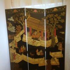 Antigüedades: MARAVILLOSO BIOMBO CHINO DE TRES HOJAS LACADO POR AMBAS CARAS. Lote 174258934